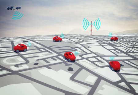 3D rendering auto's op de weg met door satelliet getraceerde baan Stockfoto