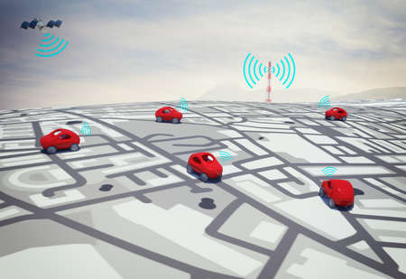 3D-Rendering-Autos auf der Straße mit Pfad per Satellit verfolgt