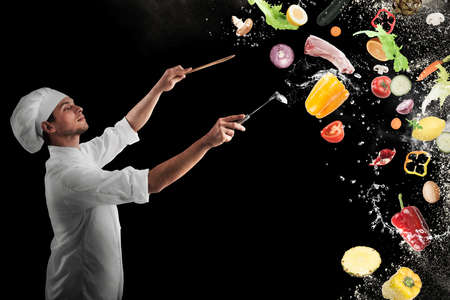 Chef creates a musical harmony with food Banco de Imagens - 66763187