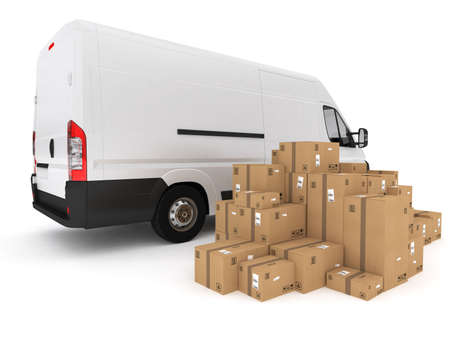 Loading stack of packed boxes on van  . 3D Rendering Stock Photo
