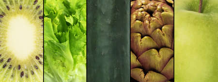 mosaic: Collage of green fruits and vegetables . Healthy food for wellness concept