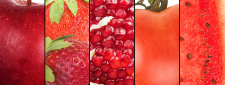 Collage of red fruits and vegetables . Healthy food for wellness concept Stock Photo