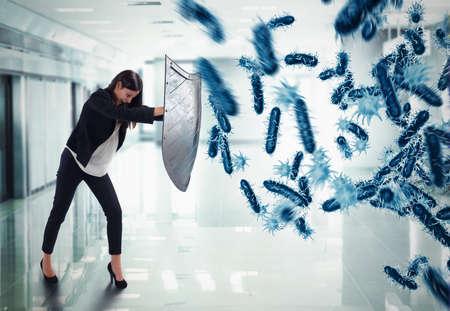 3D-Rendering. Frau schützt mit dem Schild durch einen Angriff von Bakterien