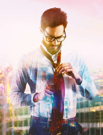 Businessman wearing a tie. Businessman at the top comes to success concept