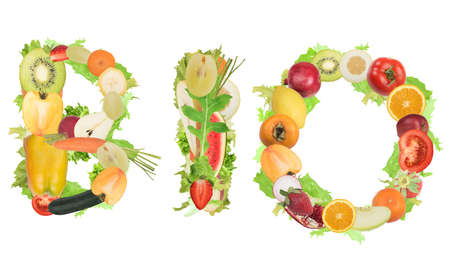 Fruits and vegetables form the word bio. Healthy food for wellness concept