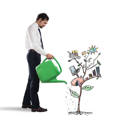 ingresos: Businessman watering a plants with graph and stats
