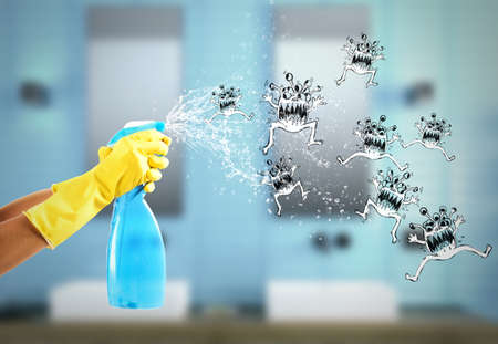 Housewife cleans determined with much cleaner spray to defeat the germs. 3D Rendering Zdjęcie Seryjne