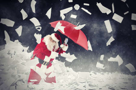 Santa claus is protected by requested letters gifts with umbrella  . 3D Rendering