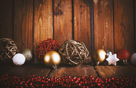 christmas decorations: Xmas decoration background with balls for xmas tree and star