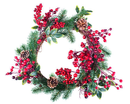 christmas decorations: Christmas wreath decoration with pine cones and hawthorn berries