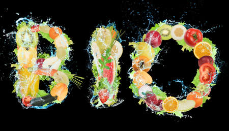 Fruit and vegetables forming the word bio. Healthy Bio food for wellness concept Stockfoto