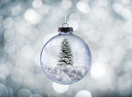 shine: Crystal Christmas ball with xmas tree on snow and sparkling silver background