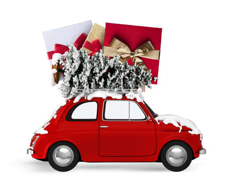 christmas decorations: Christmas tree and presents on the roof of a car. Xmas holiday travel concept. . 3D rendering