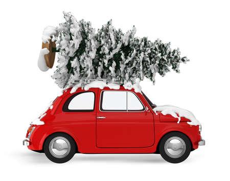 Árbol de Navidad en la azotea de un coche rojo de la vendimia. Concepto de viajes de vacaciones de Navidad. Representación 3D