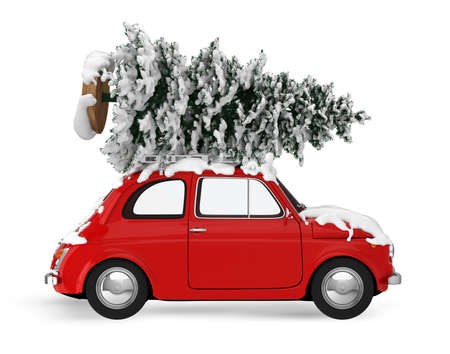 Christmas tree on the roof of a vintage red car. Xmas holiday travel concept. 3D rendering
