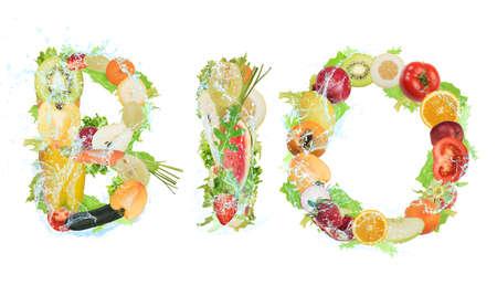 Groenten en fruit vormen het woord bio. Gezonde Bio voedsel voor wellness-concept