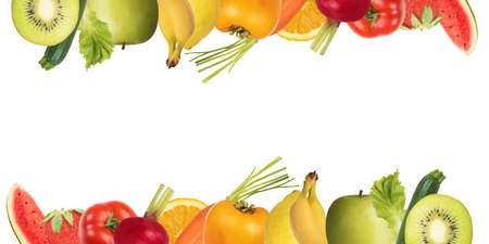 composition: Colourful banner of fruits and salad on white background.  Healthy food concept