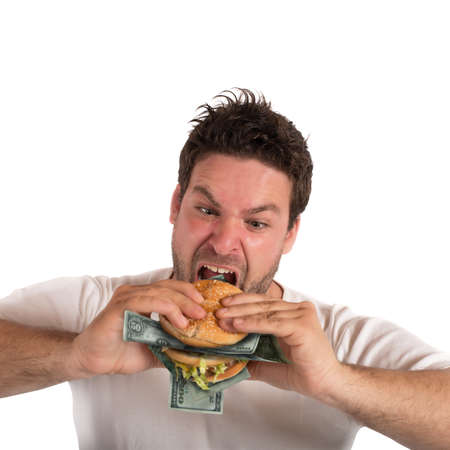 avid: Greedy and fat businessman Stock Photo