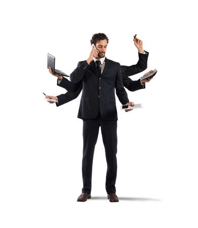 laptop: Multitasking businessman Stock Photo