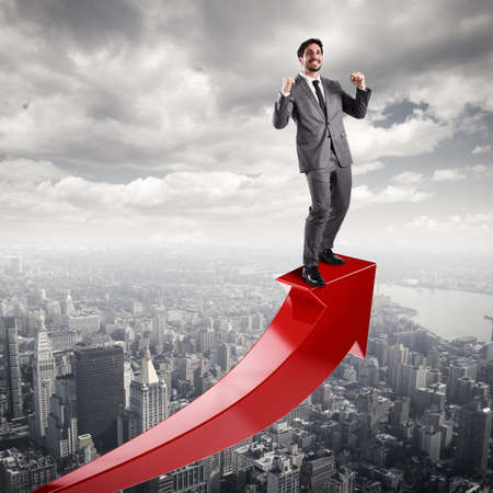 statistical: Businessman exults for economic success