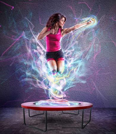 Potenza salto di forma fisica Archivio Fotografico - 69329303