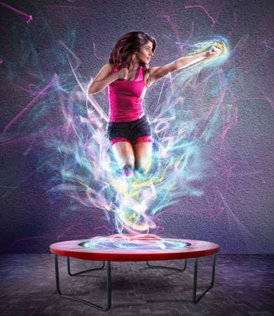 Power jump fitness Stockfoto