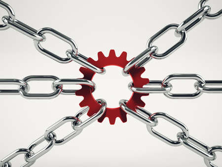 Cooperation business concept with chains. mixed media Stock Photo