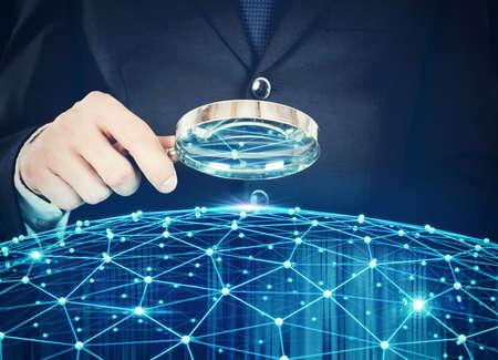Ontdekkingssysteem van interconnectie van het netwerk Stockfoto