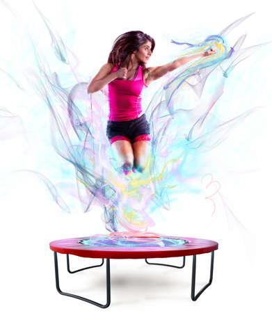 Power jump fitness Stock Photo