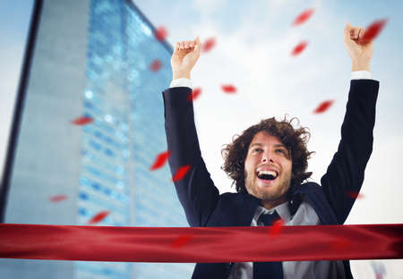Successful victorious businessman Stock Photo