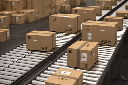 Boxes on conveyor roller. 3D Rendering