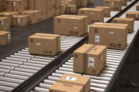 Dozen op transportband. 3D-rendering