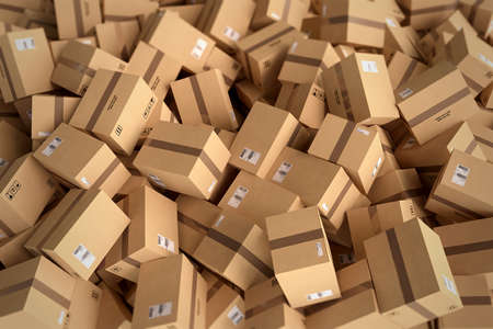 storage box: Stack of closed cardboard boxes. 3D Rendering Stock Photo