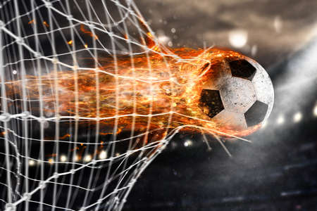 Soccer fireball scores a goal on the net 版權商用圖片 - 71735086