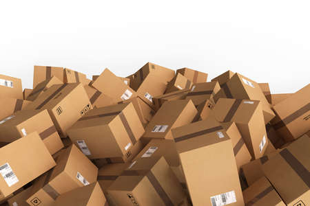 customer: Stack of closed cardboard boxes. 3D Rendering Stock Photo