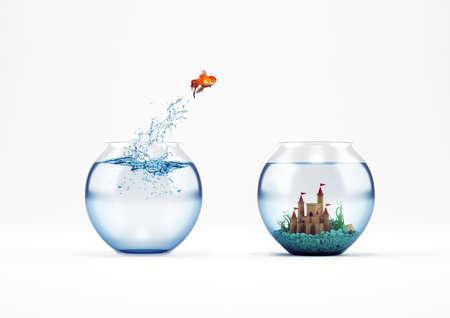 Verbetering en vooruitgang concept met een sprong van goudvis 3D rendering