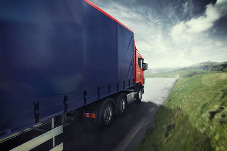 contemporary: Truck on the road 3D Rendering Stock Photo