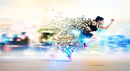 Athletic woman fast runner Stock Photo - 72489806