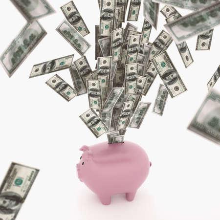 salarios: Concepto de riqueza económica Renderizado en 3D Foto de archivo