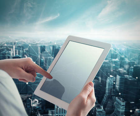 System of network with tablet Stock Photo