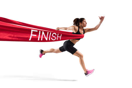 Winnaar vrouw loper op de finishlijn Stockfoto