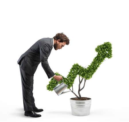 La croissance de l'entreprise d'économie avec rendu 3D Banque d'images - 73354858