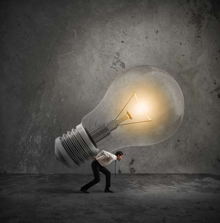 tired businessman: Have a great idea to be realized