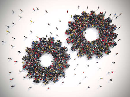 crowds of people: 3D Rendering of people united form two gears. Teamwork system concept Stock Photo