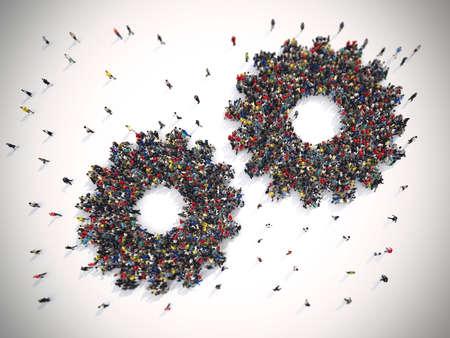 3D-rendering van de mensen verenigd vormen twee versnellingen. Teamwork systeemconcept Stockfoto