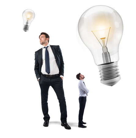 big: Great ideas from little businessmen Stock Photo