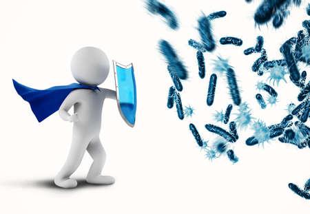 3D-rendering aanval van bacteriën