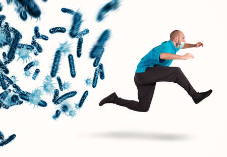 박테리아의 공격. 3D 렌더링