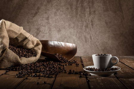 europe: Background of cup of coffee beans