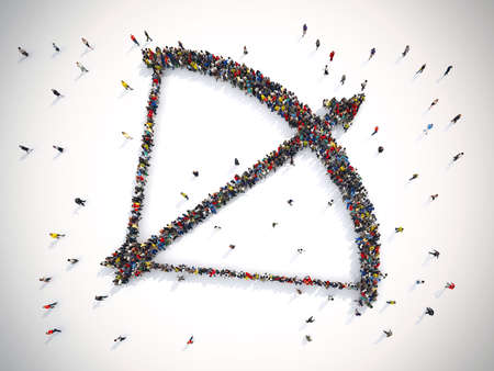 people icon: 3D rendering of arrow people. 3D Rendering Stock Photo